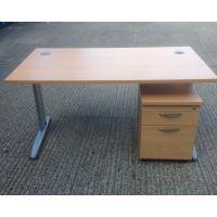 Beech 1400 x 800 Framework Desk + 2 Drawer Mobile Pedestal