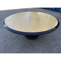 Light Wood & Black Large Circular Table