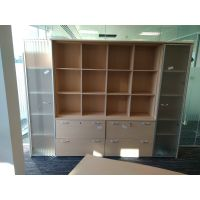 Large Beech & Glass Storage Cupboard