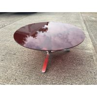 Glass Circular Meeting Table with Chrome Base