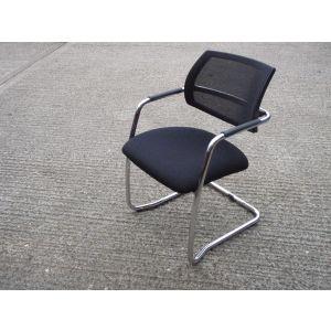 Chrome Framed Mesh Back Meeting Chair