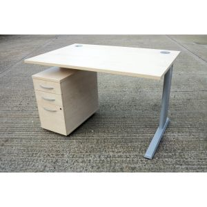 Maple 1200 x 800 Desk and Pedestal