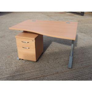 Beech 1200 FT2 Wave Desk with Beech Pedestal