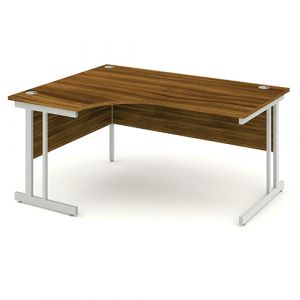Impulse Walnut Cantilever Crescent Desk