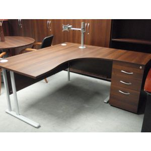 Dark Walnut Work Station and Desk High Pedestal