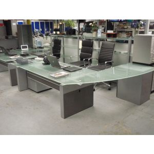 Executive Glass Top Desk with Return & Pedestal