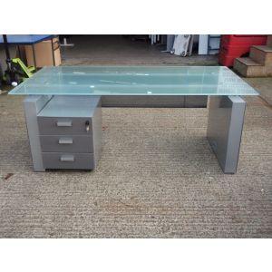Executive Glass Top Desk with Pedestal