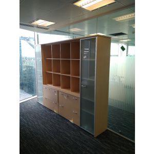 Large Beech & Glass Storage Cupboard
