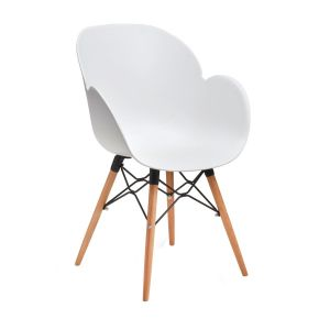 Linton Arm Chair with Beech Legs and Black Metal Frame