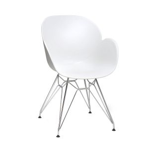 Linton White Arm Chair with Chrome Frame