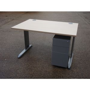 Maple 1200 x 800 Desk and Slimline Pedestal