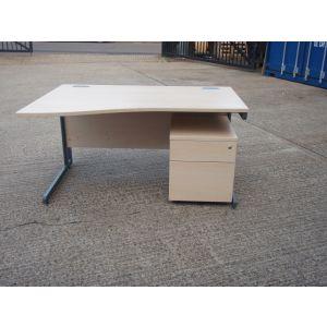 Maple 1400 Wave Desk and Pedestal