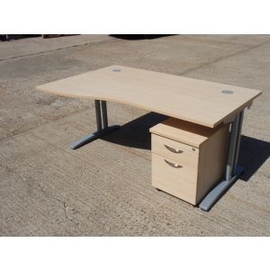 Maple 1600 Wave Desk and Pedestal