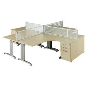 Maple Pod of 4 Work Stations with Pedestals & Screens