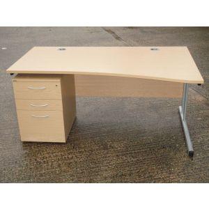 Oak 1600 Wave Desk and Pedestal