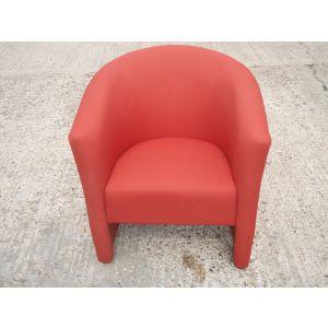 Orangebox Reception Tub Chairs Three Red in Stock.