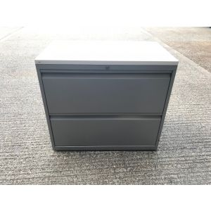 Grey 2 Drawer Side Filer with White Top