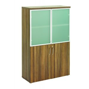 Regent Dark Walnut Storage Glass Doors