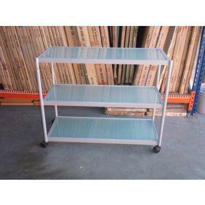 Grey Glass 3 Tier Trolley