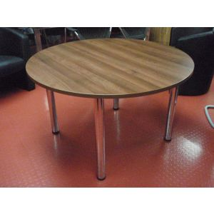 Walnut 1200 Dia Table with Chrome Legs