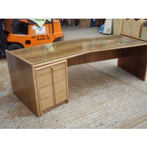 Walnut Executive Desk with A Glass Top