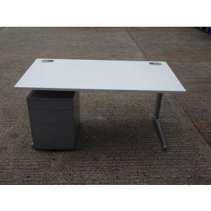 White 1500 x 800 Desk and Pedestal