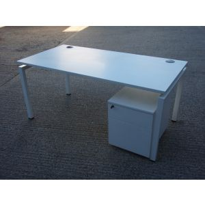White 1600 x 800 Bench Style Desk and Mobile Pedestal