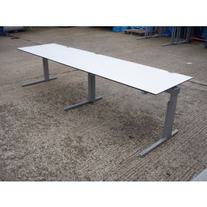 White Cantilever Base Desk 3000 x 800