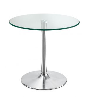 800 Glass Visitor Table With Brushed Steel Base