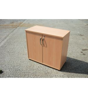 Beech Desk High Storage Cabinet