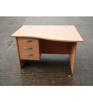 Beech Wave 1200 x 1000 Desk