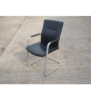 Black Leather Cantilever Meeting Chair