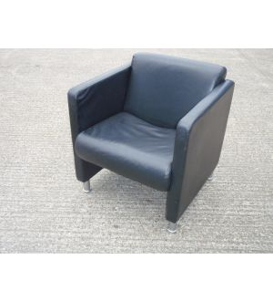 BOSS Black Leather Reception Easy Chair