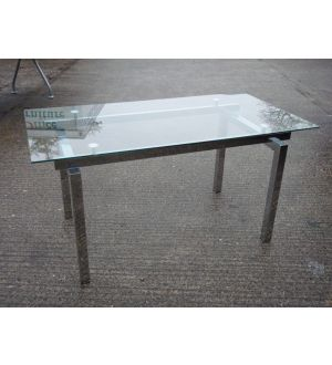 Chrome and Glass Meeting Room Table
