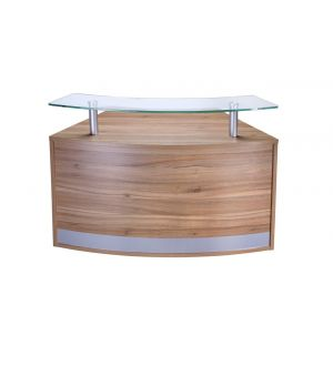 Low Glass Top Curved Reception Desk Unit