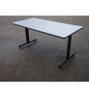 Grey Table on Twin Black Base