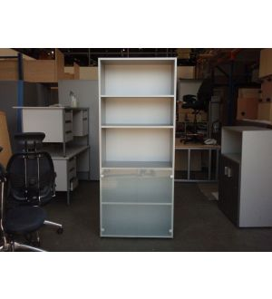 Grey and Glass Storage. 2 in Stock