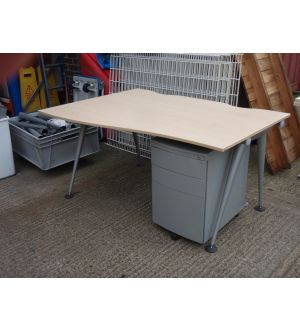 Herman Miller Maple 1400 Wave Desk & Pedestal