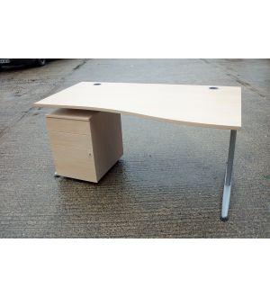 Senator Maple 1600 Wave Desk and Pedestal