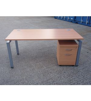New Bench Desk With Second-Hand Mobile Pedestal
