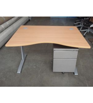New 1200 Beech Desk & Used Pedestal