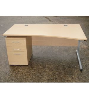 Oak 1600 Wave Desk and Pedestal