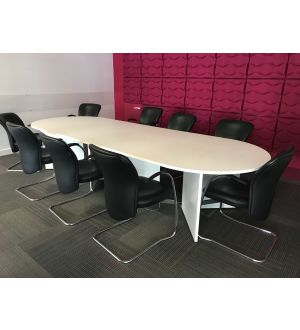 White Meeting Table, Credenza & 10x Cantilever Chairs