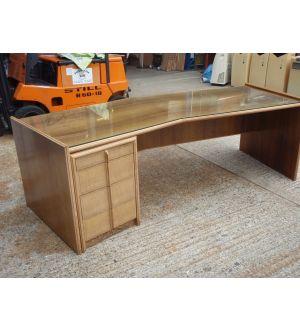 Walnut Executive Desk with A Glass Top