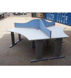 White Pod of 3 Desks with Mobile Pedestals