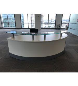 White Curved Reception Desk Unit