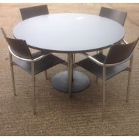 Dark Grey Circular Meeting Table