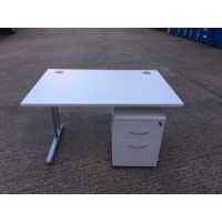 White Cantilever 1200x800 Desk