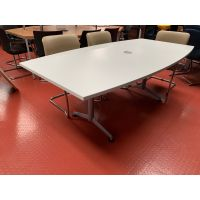 White Boardroom Table on Silver Frame