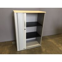 Tambour Storage Unit with Maple Top